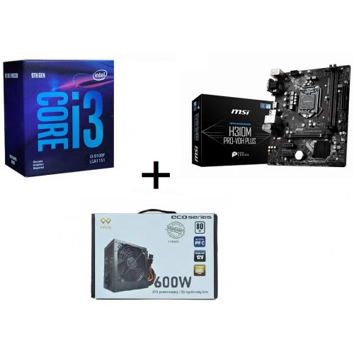 Combo CPU I30 9100F + Main H310M Pro-Vdh Plus + Nguồn Infinity Eco 600W