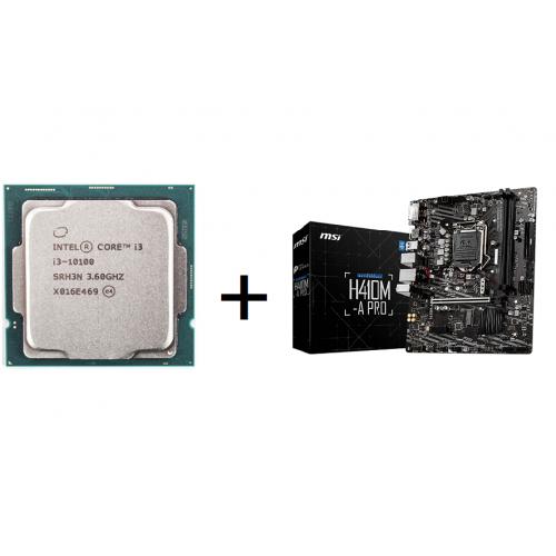 Combo CPU I3 10100 Tray New + Main MSI H410M-A PRO